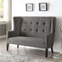 ACME Furniture Paloma Fabric Settee in Gray and Espresso