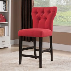 ACME Furniture Effie Linen Counter Stool in Red and Walnut (Set of 2)