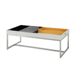 ACME Furniture Maisie Coffee Table in White and Chrome