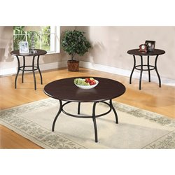 ACME Furniture Urika 3 Piece Coffee and End Table Set in Dark Cherry