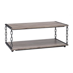 ACME Furniture Jodie Coffee Table in Rustic Oak and Antique Black