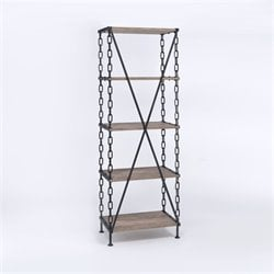 ACME Furniture Jodie 4 Shelf Bookcase in Rustic Oak and Antique Black