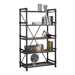 ACME Furniture Caitlin 4 Shelf Bookcase in Rustic Oak and Black