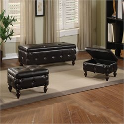 ACME Furniture Ibrahim 3 Piece Ottoaman Set in Brown and Espresso