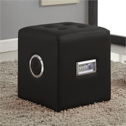 ACME Furniture Laila Sound Lounge Bluetooth Speaker Ottoman in Black