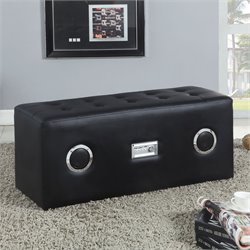 ACME Furniture Laila Ottoman with Bluetooth Speaker in Black