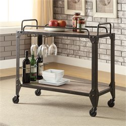 ACME Furniture Caitlin Serving Cart in Rustic Oak and Black