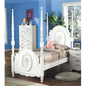 ACME Flora Poster Bed in White-SH