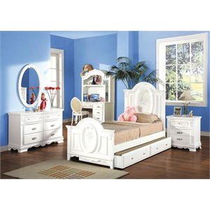 ACME Flora Twin Panel Bed in White