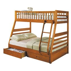 ACME Jason Twin over Full Bunk Bed with 2 Drawer in Honey Oak