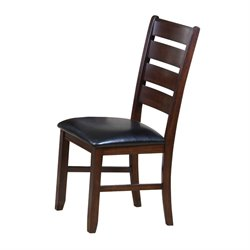 ACME Urbana Faux Leather Dining Side Chair in Black and Cherry (Set 2)