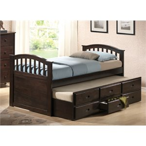 ACME San Marino Captain Bed and Trundle with 3 Drawer in Walnut-SH
