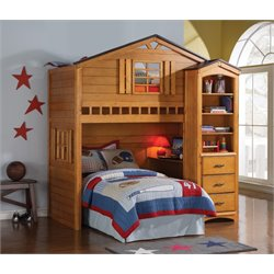 ACME Tree House Loft Bed in Rustic Oak