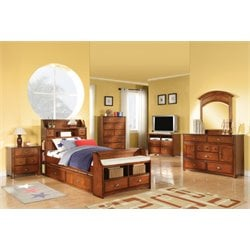 ACME Brandon Twin Bookcase Bed with Storage in Antique Oak