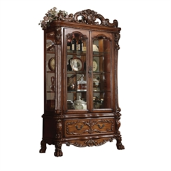 ACME Dresden Curio Cabinet in Cherry Oak