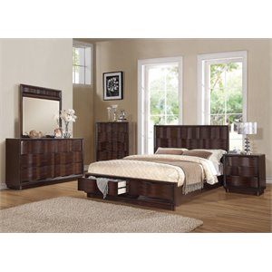 ACME Travell Queen Storage Panel Bed in Walnut