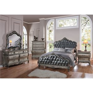 ACME Chantelle Queen Panel Bed in Antique Platinum and Silver Gray