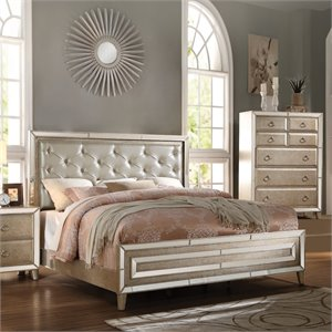 ACME Voeville Queen Panel Bed in Gold and Antique White