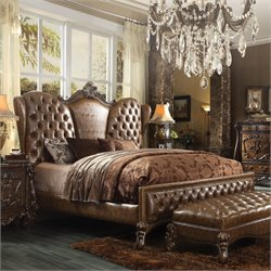 ACME Versailles Upholstered Queen Bed in Brown Cherry