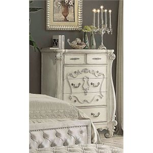 ACME Versailles 5 Drawer Chest in Bone and White