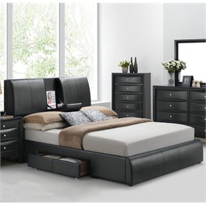 ACME Kofi Upholstered Queen Panel Bed with Storage in Black