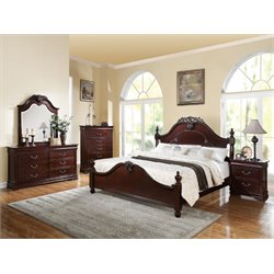 ACME Gwyneth Queen Panel Bed in Cherry