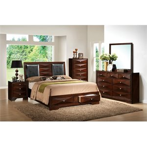 ACME Windsor Storage Bed in Black and Merlot
