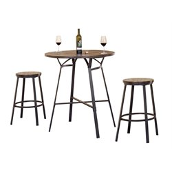 ACME Dora 3 Piece Pub Set in Weathered Dark Oak and Black