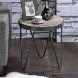 ACME Bage End Table in Weathered Gray Oak