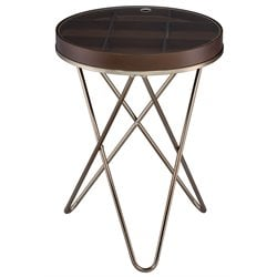 ACME Bage II End Table in Walnut and Champagne