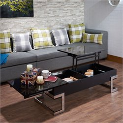 ACME Calnan Lift Top Coffee Table in Black and Chrome