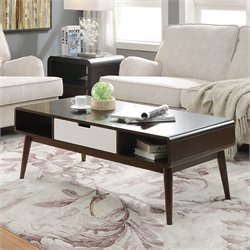 ACME Christa Coffee Table in Walnut and White