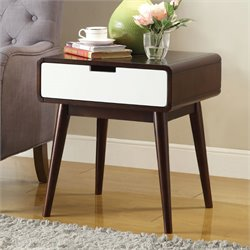 ACME Christa End Table in Walnut and White