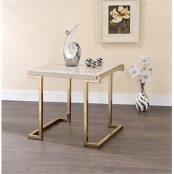 ACME Boice II End Table in Faux Marble and Champagne