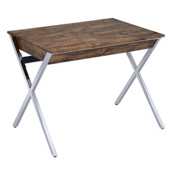 ACME Callers Home Office Desk in Weathered Oak and Chrome