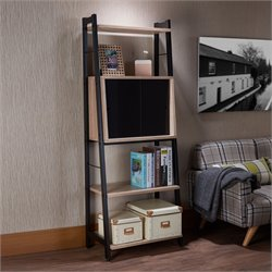ACME Finis Leaning 3 Shelf Bookcase in Light Oak and Black
