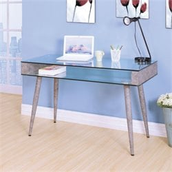 ACME Boyd Home Office Desk in Clear Glass and Oak