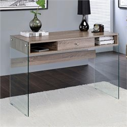 ACME Armon Desk in Clear Glass and Gray Oak