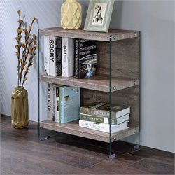 ACME Armon 2 Shelf Bookcase in Clear Glass and Gray Oak