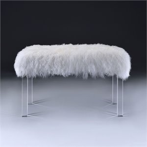 ACME Bagley Bench in Wool and Clear Acrylic