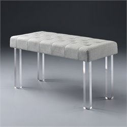 ACME Bagley Bench in Linen and Clear Acrylic