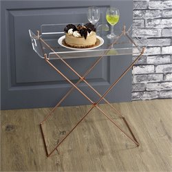 ACME Cercie Tray Table in Clear Acrylic and Copper