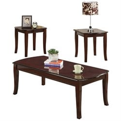 ACME Camarillo 3 Piece Coffee Table Set in Cherry