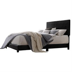 ACME Lien Upholstered Faux Leather Panel Bed in Black