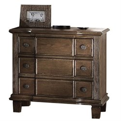 ACME Baudouin 3 Drawer Nightstand in Weathered Oak