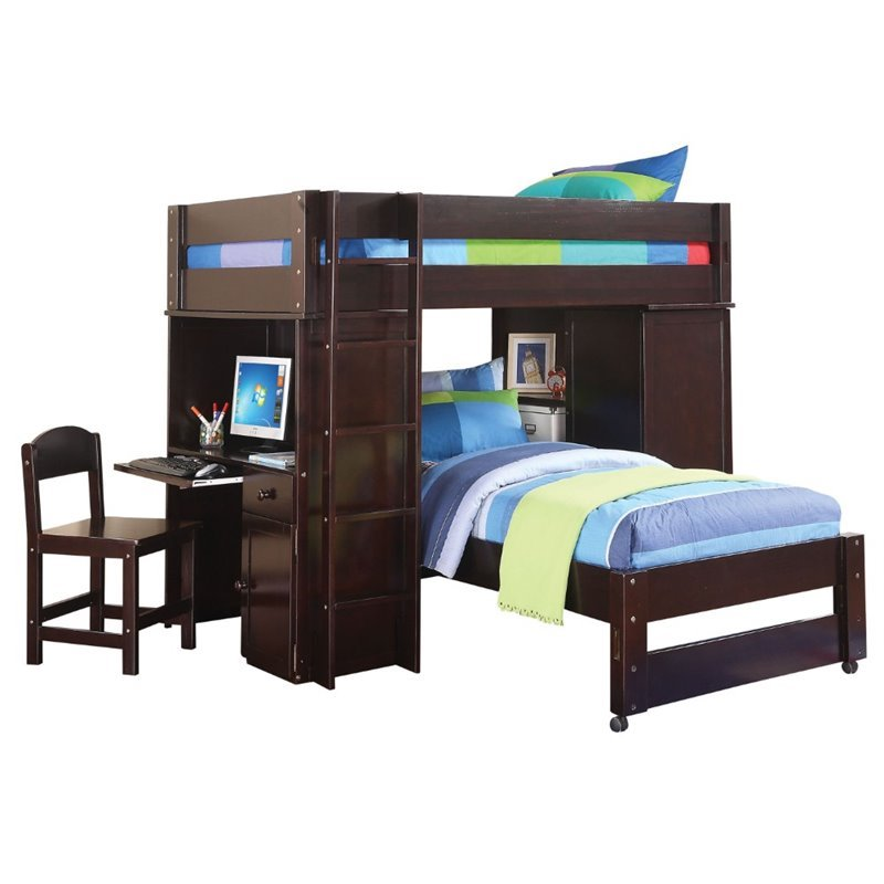Tremendous Acme Lars Loft Bed With Twin Bed And Chair In Wenge Pdpeps Interior Chair Design Pdpepsorg