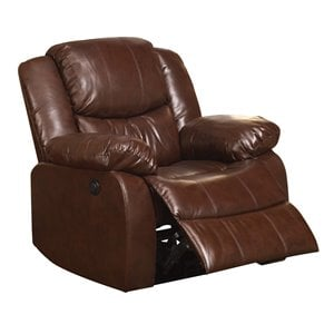 ACME Fullerton Faux Leather Power Recliner in Brown