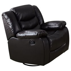 ACME Torrance Faux Leather Swivel Rocker Recliner in Espresso