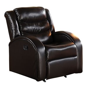 ACME Noah Faux Leather Rocker Recliner in Espresso