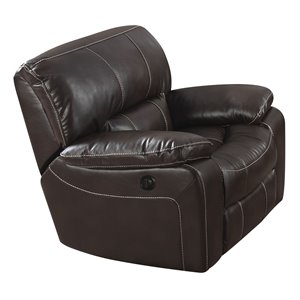 ACME Kimberly Faux Leather Power Recliner in Brown